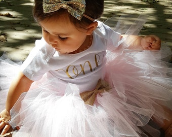 First Birthday Outfit Girl; One Birthday Tutu Outfit; baby girl 'one' tutu outfit; Tutu Outfit for first birthday; Gerber ® Onesies ® brand