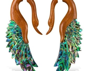 Fake Gauges, Gypsy, Fake Plugs, Handmade Horn Earrings, Tribal Style -  Yafah Swans Tan with Abalone