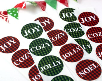 Red & Green buffalo plaid stickers - noel, joy, cozy, jolly - christmas stickers, holiday stickers
