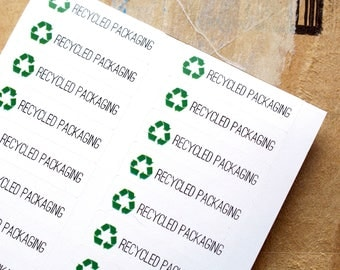 RECYCLED PACKAGING- recycle stickers with recycling symbol - recycled box label - packaging supplies