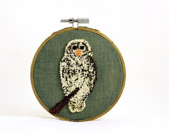 Barred Owl Punchneedle Embroidery Hoop Wall Art 4 Inch Hoop. Fiber Art. Home Decor. Bird Art. Green, Cream, Brown