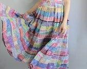 Boho Skirt, Summer Skirt, Hippie Skirt, Bohemian, Gypsy, Full, Maxi, Festival Skirt, Pastel, Wedding Guest, Cotton, Size Medium