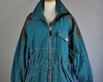 Women's Obermeyer Ski Snowboard Jacket Coat, Winter Windbreaker, Teal Blue, Ski Vacation, Sport, Outdoor, Size Large