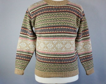 Fair Isle Sweater. Nordic. Pullover Sweater. Brown. Wool Sweater. Tribal Print. Vintage. Mens Size Small. GOGOVINTAGE. FREE SHIPPING