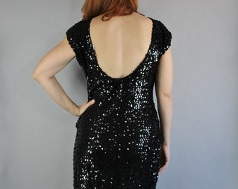 Black Sequined Party Dress, 80s does 50s Women's Knit Club Formal Pinup Hourglass Sexy Dress, Performer, Size Medium, FREE SHIPPING