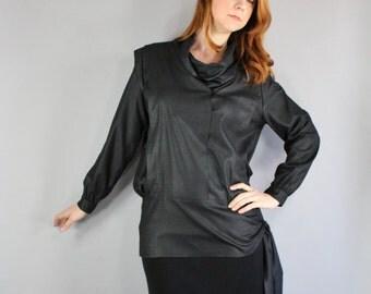 80s Black Minimal Top, Blouse, Gothic, Wear to Work, Office, Long Sleeve, Club, New Wave, Modern, Sharkskin, Medium, FREE SHIPPING