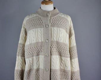 Vintage 80s Womens Cream Beige Stripes Wool Cardigan Sweater, Spring Sweater, Grunge, Cozy Cardigan, Preppy, Rustic, Woodland, Size Large