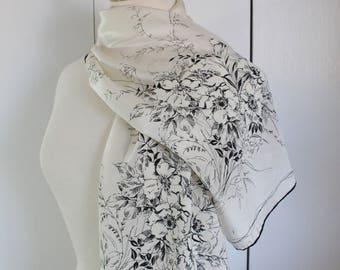 Vintage 50s 1950s Cream Black Floral Long Silk Scarf, Marilyn Monroe, Audrey Hepburn, Gift for her, vlv