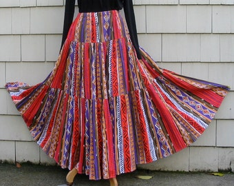 Southwestern Country Style Three Tiered Cotton Skirt