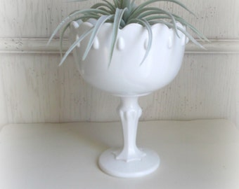 Vintage Milk Glass Footed Vase Indiana Glass Teardrop