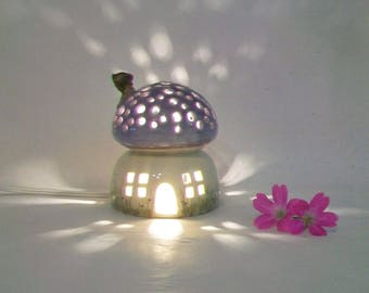 Night Light/ Fairy House -Purple Roof, Mushroom with Starry Sky - Hand Painted - Ready to Ship - Childrens Lamp / Nursery Light
