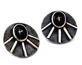 Sterling Silver Earrings, Stud Earrings, Gemstone Earrings, Black Silver Earrings, Black Star Earrings, Elegant Earrings, Gift for Her