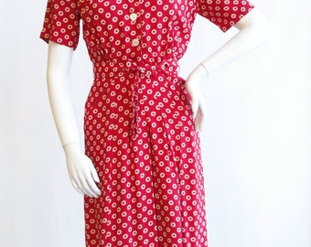 "Early 1940s ""Reliance"" Red and Ivory Circle Print dress Waist 26"""