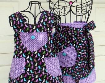 Mother Daughter Matching Aprons Purple and Teal Bird Apron Set