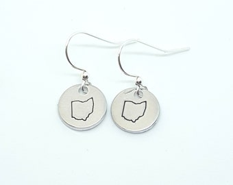 Ohio Earrings | Ohio State | Ohio Gift | OSU | Ohio State Buckeyes | Hand Stamped Jewelry