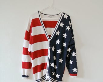 Vintage American Flag Sweater - Button Down Cardigan with American Flag Pattern - Long-Sleeve Sweater - Size Large
