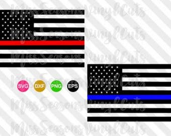 Police / Firefighter Line Flag | American Flag  | Digital Cut File| SVG Png Dxf | Thin Blue Line| Thin Red Line | Personal & Commercial Use