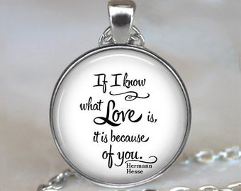 If I know what Love is, it is because of you, quote necklace, Hermann Hesse quote, anniversary gift, Valentine's gift literary quote jewelry