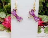 Purplish Pink Dragonfly Earrings - Cute Dragonfly Earrings - Small Dragonfly Earrings