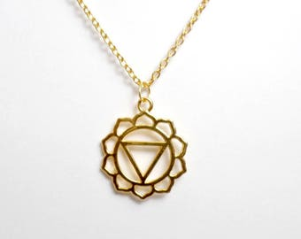 Gold Plated Solar Plexus Chakra Necklace - Chakra Charm Necklace - Solar Plexus Chakra Pendant