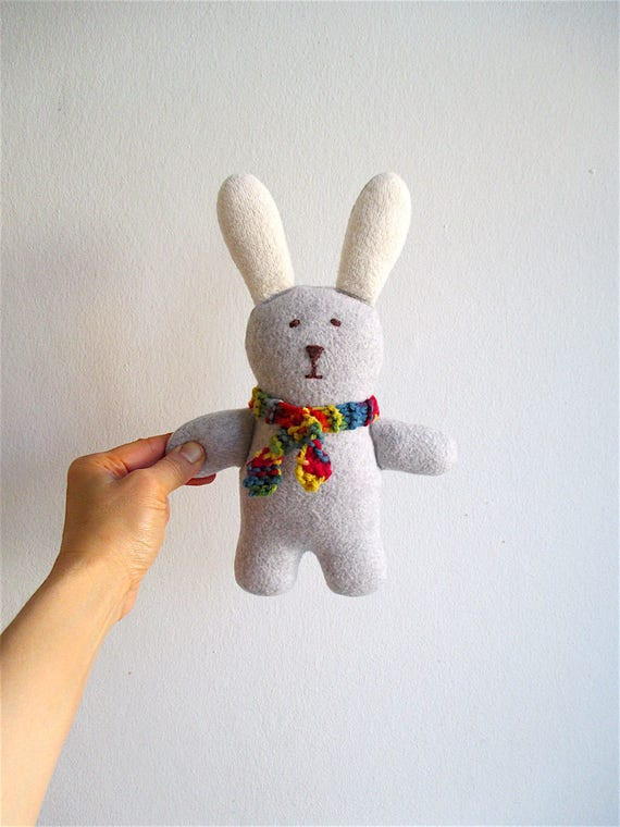 Bunny, organic cuddly soft bunny, gray, white, wool, cotton, stuffed toy, baby gift, toddler, shower gift, eco friendly, Easter, rainbow