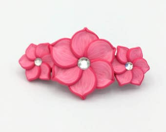 Three Pink Flowers Barrette 3 Inches; Spring Blossom; Floral Hair Accessory Fashion; Style No: PIF06