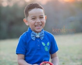 Easter Monogram Polo Shirt: Toddler Boy Polo, Youth Spring Bunny Shirt, Royal Blue Easter Shirt, Bunny Bow Tie, Easter Bow Tie