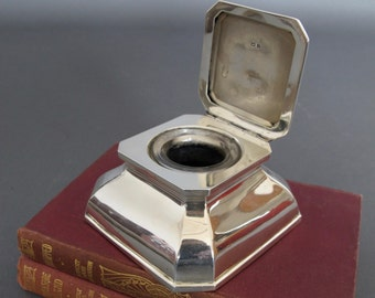 Large Solid Silver Square Capstan Inkwell from England - Antique Inkwell - Hallmarked