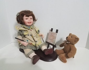 LAST CHANCE - Vintage Doll, Painter with Easel and bear