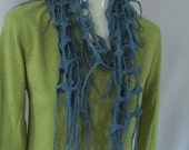 Blue Felted Lattice Scarf