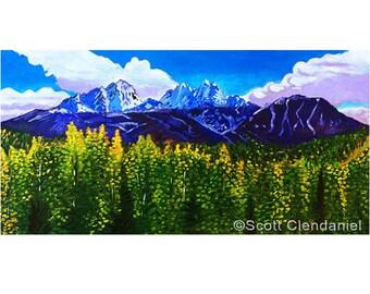 Alaska Chugach Mountains Art Print, Blue and Green Alaska Painting, Fall Foliage, Snow Capped Mountains Print, Alaska Souvenir, Twin Peaks