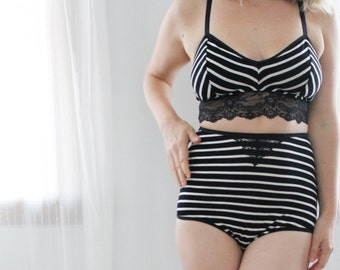 Black and White Stripe 'Graphite' Longline Bralette with Lace Handmade to Order in Your Size