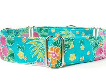 Floral Martingale Dog Collar,,, Tropical Hibiscus,, Turquoise Floral Martingale Dog Collar in 1.5 inch or 2 inch width