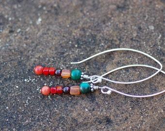 Multi Colored Semi Precious Stone Dangle Earrings Sterling Silver Ear Wires Handmade Beaded Dangle Earrings