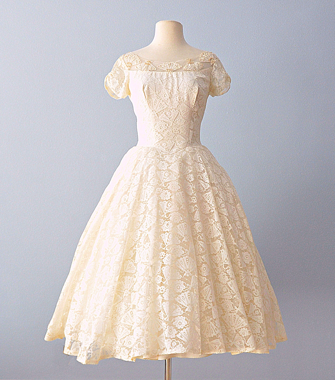 Vintage 1950s Wedding Dress Darling Tea Length Fan Lace