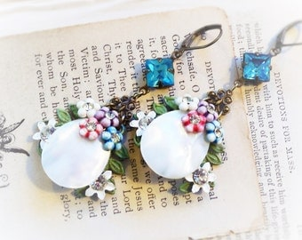 Hanging Pearl Gardens, Vintage Mother of Pearl and Turquoise Rhinestones Altered Assemblage Flower Earrings by Hollywood Hillbilly