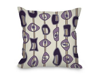Throw Pillow Cover, mid century modern, decorative pillow, amethyst, purple, tan throw pillow with zipper, modern decor, 14x14, 16x16, 20x20