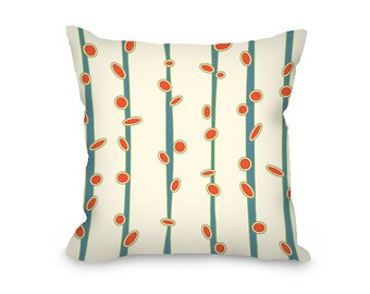 Throw Pillow Cover, mid century modern, decorative pillow, blue, orange, cream throw pillow with zipper, modern decor, 16x16, 18 x 18, 20x20