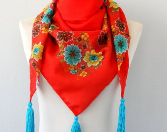 Boho tassel scarf red Turkish scarf floral scarf cotton yemeni scarf bohemian scarf summer scarves shawl mothers day gift for her