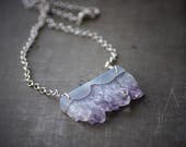 Chunky Amethyst Slab on Sterling Rolo Chain