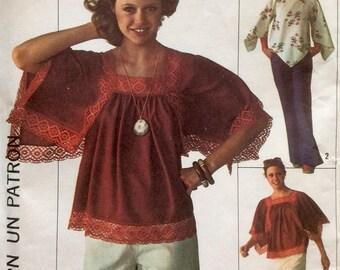 Vintage Sewing Pattern 1970's Boho Blouse Shirt Angel Sleeves Raglan Handkerchief Hem 1976 Uncut