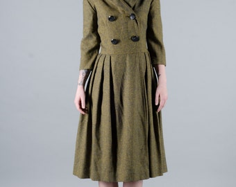 Vintage 1950's Woven Wool Wrap Dress
