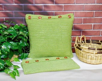 Green Crochet Pillow Covers Handmade Square Reversible Shams Set of 2, Throw Pillow Covers 18 Inch