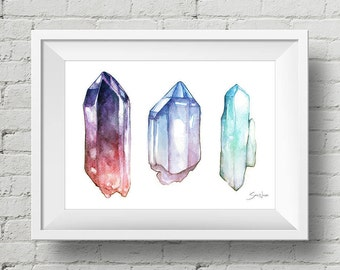 Crystals : print gems jewels crystal watercolor painting