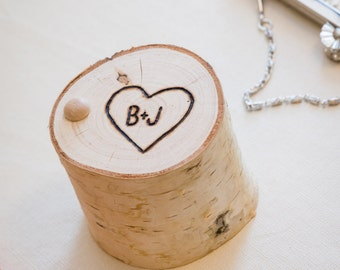 Ring BOX - Personalized White BIRCH Wood Ring BOX - Woodland Wedding - Ring Bearer - Engagement Gift