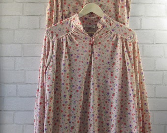 MILESTONE SALE 40% OFF with Coupon, 60s Two Piece Top and Skirt, Pink with Pink and Purple Flowers, Large, XLarge, XXLarge