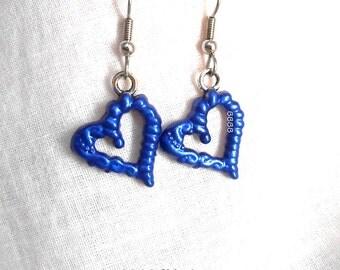 Blue Cosmique Heart Earrings