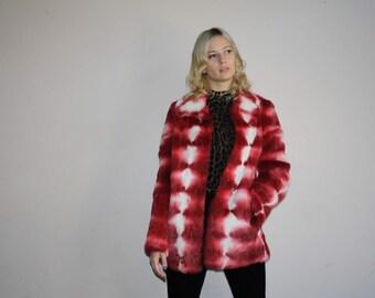 Red Ombre Rare Vintage 90s Abstract Tie Dye Rabbit Fur Coat - 1990s Colorful Rabbit Fur Coats - W00807