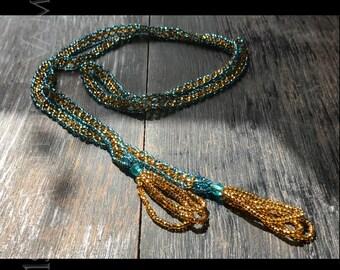 1920s Beaded Necklace. Blue & Gold. Sautoir. Tassels. Art Deco. Jazz Age. Flapper.