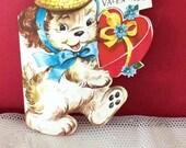 Vintage 1950s Valentine Card Puppy Dog Wearing A Straw Hat Whitman USA Collectible Paper Ephemera Art Craft Scrap Book Supplies